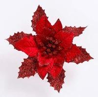 17CM Artificial Christmas flowers poinsettia flower heads exquisite floral glitter decorative trees wreaths ornaments CF8006