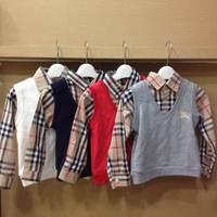 Retail 2014 Brand Baby&Boy's fashion casual T-shirt/Children's long sleeve Turn-down Collar plaid stitching clothing+Free Shipp