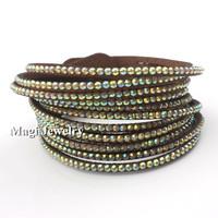 Wrap Bracelet Women/ Men AB Crystal Velvet Leather Fashion Jewelry Handmade 9 Colors Black Beige Pink Purple Yellow Blue BFWS