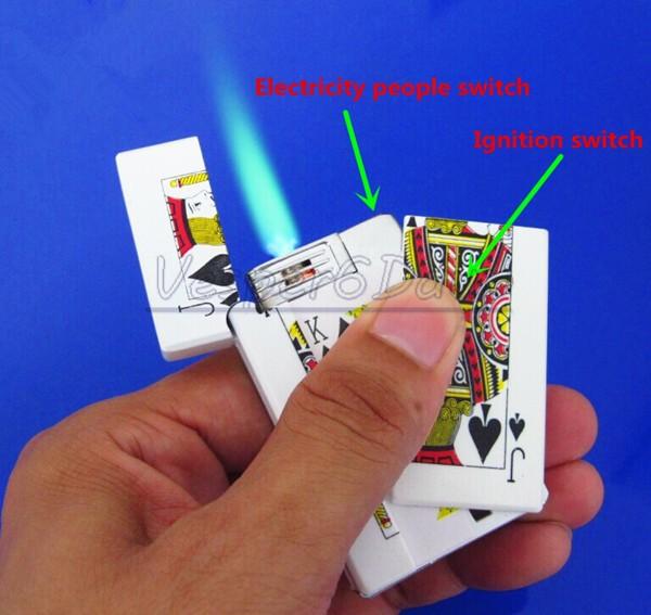 Free Shipping 10pcs Electric Toys Windproof Lighter Electric Shock Lighter Prank Joke Gag Trick Get Zzamm Poker Electric Lighter(China (Mainland))
