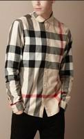 Hot Sale Classic Men Fashion England Designer Long Sleeve Big Plaid Shirts/High Quality Designer Check t-shirt 9 Color