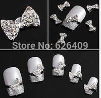 10Pcs/lot  3D Clear Alloy Rhinestone Bow Tie Nail Art Slices Diy Decorations