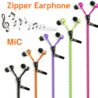 3.5 mm Jack In-ear Zipper Stereo Hands-free Headphone Earphone With Mic For iPhone 4S 5S Samsung Galaxy S4 S5