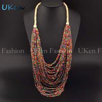 2014 Fashion Closed Wood Chain Style Pretty Handmade Beads Free Shipping Pendants Long Necklace Bohemia Holidays Beach Jewelry