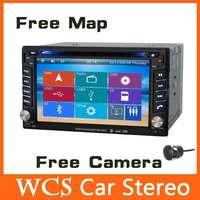 Universal 2din  Car DVD Automotivo Player  W/GPS Navi+BT+RDS +AM FM Radio+SD USB+stereo+car pc+aduio+Russian Menu,Steering Wheel