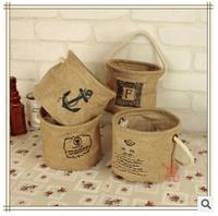 free  shipping zakka Cotton rope hanging barrel storage multifunction desktop storage pot shopping basket
