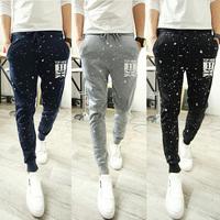 Spring and autumn Fashion Printed Mens Jogger Dance Sportwear Skinny Harem Pants Slacks Trousers