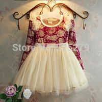 retail high quality 2014 autumn new design kids clothes baby girls dress print flower ball gown vestidos de menina