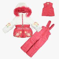 2015 New Children's Winter Clothing Set Girl baby Ski Suit Windproof Flower Warm Coats Fur Jackets+Bib Pants+Wool Vest