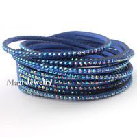 Fashion Wrap Bracelet Women AB Crystal Velvet Leather Magi Jewelry Handmade Blue 16in BFWS