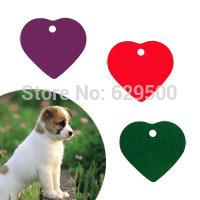 200pcs/lot Heart Shaped Aluminum Pet Dog Tag Blank & Engravable Metal Dog Tags