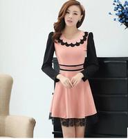 New In Fashion Autumn 2014 Women's Dresses Elegant Long-Sleeve O-neck Patchwork Female Dress