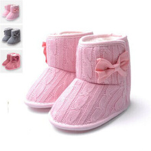 Toddler Knited Winter Faux Fleece Crib Snow Boots Kid Baby Shoes Bowknot Woolen Yam Fur Knit Shoes Firsst Walkers Free shipping(China (Mainland))