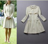 Top Quality 2014 Autumn New Brand Princess Kate Dress Womem's Fashion Noble Turndown Collar Long Sleeve White Slim Dress S~XL