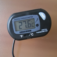 4pcs free shipping reptile small digital   thermometer with 1 meter cable