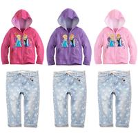 2014 new Autumn Frozen Girl Elsa & Anna Long sleeve hooded 2 pcs kids girls clothes set (coat +pants) 6 set/lot