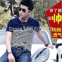 2014 summer male short-sleeve T-shirt slim 100% cotton stripe short-sleeve t shirt men's clothing