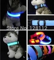 Adjustable LED Nylon Pet Dog Collar Night Safe Flashing Light Buckle Collar Neck Strap