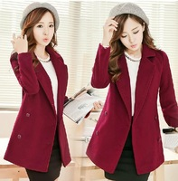 2014 Autumn and Winter Outfit New Woolen Coat  Long Double Breasted Solid Slim Women Trench Coat
