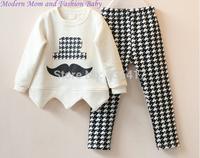 2014 autumn new girls sets/fashion childrens girls sets/high quality kids cloth sets for girls/childrens T shirt + pants  girls