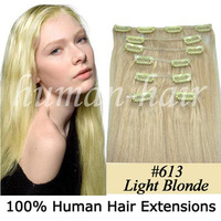 "Remy Silky Syraight Real Human Hair Made 20"" Extensions 7Pcs Clip in 120g/pack #613 Light Blonde"