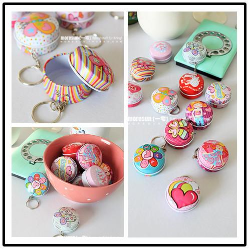 Novelty Decorative Boxes,Kinds of Colorful Round Shape Fashion Mini Iron Box,Portable Mini Boxes With Key Chain Easy to Use(China (Mainland))