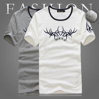 Miss elegant brief pattern hemming T-shirt o-neck short-sleeve shirt men's casual
