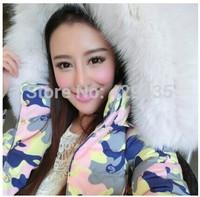 Free shipping 2014 New Female Models Down Jacket Fox Fur Collar Long Down Jacket Slim Waist Plus Size Camouflage Code