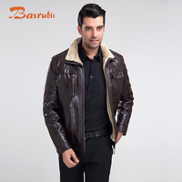 2014 Winter Men'S Casual Leather Jacket Fur Large Size Brands Warm Coat Jacket lining of fur ovtsy Free Shipping M-5XL C2