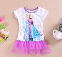 Free shipping Baby Girls Frozen Dress Elsa Ana Frozen Princess Cartoon Print Girls T Shirt For 2-8 Years Baby & Kids,60pcs/lot