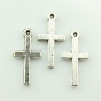 100pcs 9*19mm cross charms antique silver tone pendant