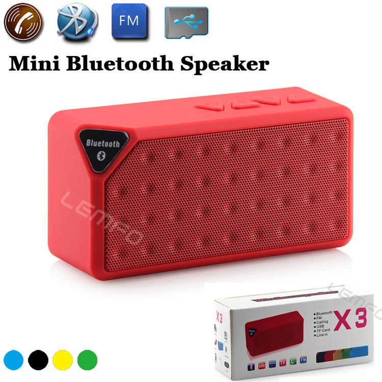 MINI Bluetooth Speaker X3 Jambox Style TF USB FM Wireless Portable HandsFree Music Sound Box Subwoofer Loudspeakers with Mic New(China (Mainland))