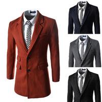 2014 wool Jacket men's woolen slim fit overcoat men's leisure trench outerwear male coat wholesale B068 winter hot sell