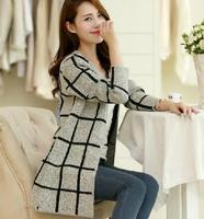 2014 new spring and autumn plaid Lattice women cardigan sweater jacket outerwear girls sweater coat