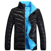Free shipping 2014 New Men winter Jacket Coat Casual Slim Winter Cotton Men Overcoat Fashion pure coloe men coat 4 colors 4 size