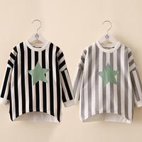 New fashion Spring autumn five-pointed star stripe girls clothing baby girls  long-sleeve sweatshirt outerwear kids t-shirt