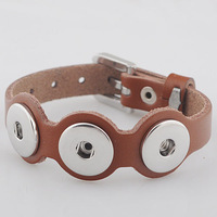 New Arrival Christmas New Year Gift Diy Snap Button Charm Leather Bracelet Fit for 18mm Ginger Snaps Button Jewelry NB-LB002A