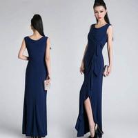New 2014 long evening dress formal waist pleated double layer vent sexy  party evening elegant vestidos de festa vestido longo
