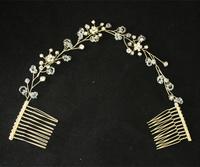 Elegant High Quality Handmade 14K Gold Crystal Rhinestone Long hair comb head jewelry