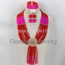 Pretty New Fuchsia Pink African Wedding Jewelry Set Nigerian Beads Bridal Jewelry Set 2014 Fashion Free