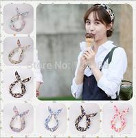 Free Shipping,2014 New Wholesale 20pcs/lot Rose Flower Pattern Womens Headbands Rabbit Ear Hairbands Hair Accessories