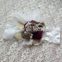 Free Shipping Autumn Dupioni Silk Roll Flower Ivory Ostrich Feather Baby Headband Kids Hair Accessories