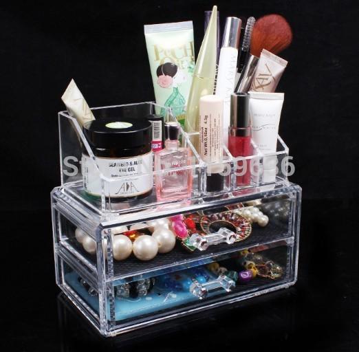 Grátis frete plástico acrílico caixa de cosméticos organizador de gaveta de maquiagem caso caixa de armazenamento caixa Insert titular Box(China (Mainland))