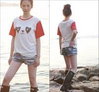 Wholesale/retail! 2014 summer new fashion short jean scasual female Korean stars worn thin stripes flag print denim shorts women