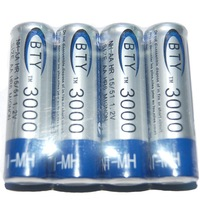 4 PCS/lot Free shipping New 2014 High Quanlity 4 X BTY Ni-MH AA 3000mAh 1.2V Rechargeable 2A Battery Baterias with high quality