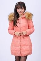 Fashion Clothes Lady Down Coat  Fur Cap Jacket Big size Slim Coat Cotton Parkas For  Women Winter