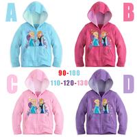 2014 new Autumn Frozen Girl Elsa & Anna Long sleeve hooded jacket kids coat size 90 100 110 120 130