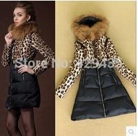 Women Coat Jacket Luxury Large Fur Collar With Hood Cotton Down Coat Female Short Thin Outerwearleopard print 2014 Autumn Winter