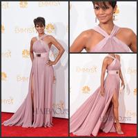 Halle Berry 66th Emmy Awards 2014 Elegant Slit Evening Dress High Neck Chiffon Backless Celebrity Dresses Long No Belt