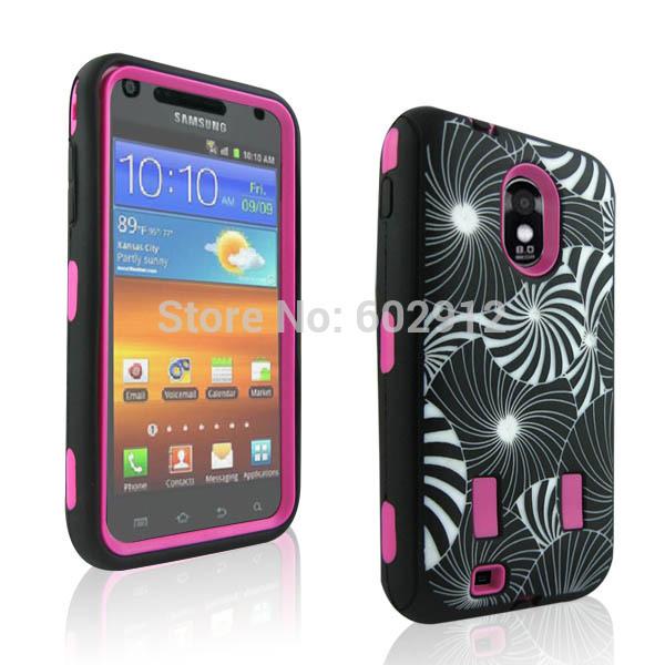 SUN BURST HYBRID IMPACT HARD RUBBER CASE FR Samsung Galaxy S2 Epic 4G Touch #SPD74-1(China (Mainland))